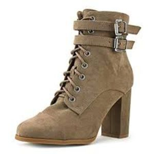 Madden Girl Klaim Combat Booties Taupe 5.5M